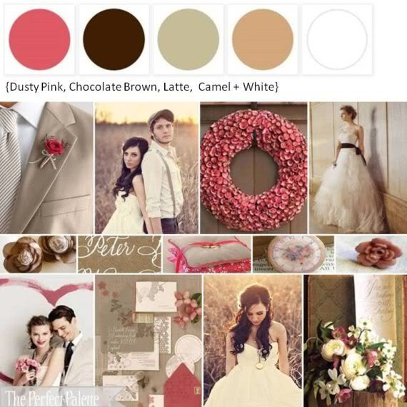 Dusty Pink, Chocolate Brown, Latte, Camel, & White