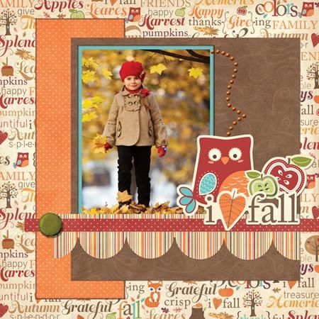 """Cute """"I Love Fall"""" Scrapping Page...Introducing Happy Harvest paper from Imaginisce - Scrapbook.com."""