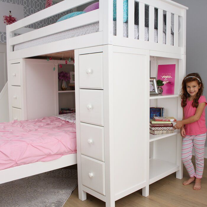 Ayres Twin L Shaped Bunk Bed With Drawers And Shelves Bed For Girls Room Bunk Beds For Girls Room Bunk Beds With Drawers