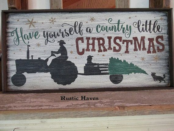 Primitive Wood Sign | Christmas Sign | Tractor Sign | Country Sign | Farm Sign…