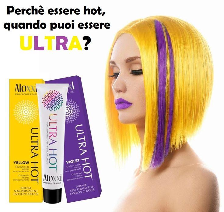 I capelli gialli sono una delle ultime tendenze, magari con qualche inserto violetto... In poche osano così tanto, ma l'effetto WOW è assicurato, soprattutto se il colore che indossi è Ultra Hot by Aloxxi!