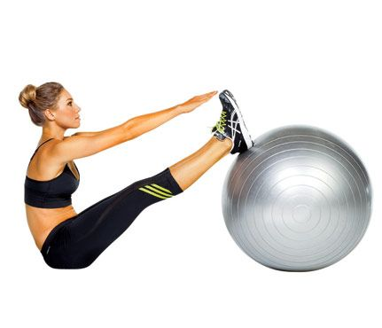 rad roll-up: Lie faceup, heels on top of ball, arms extended on floor above head. Engage abs and slowly roll up to touch fingertips to toes (as shown). Reverse movement for 1 rep. Do 12 reps