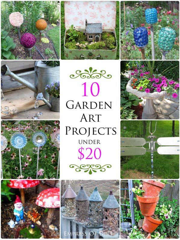 10 Garden Art Projects Under $20 - come pick your favorites!  #gardenart #spon #diyprojects #repurposed