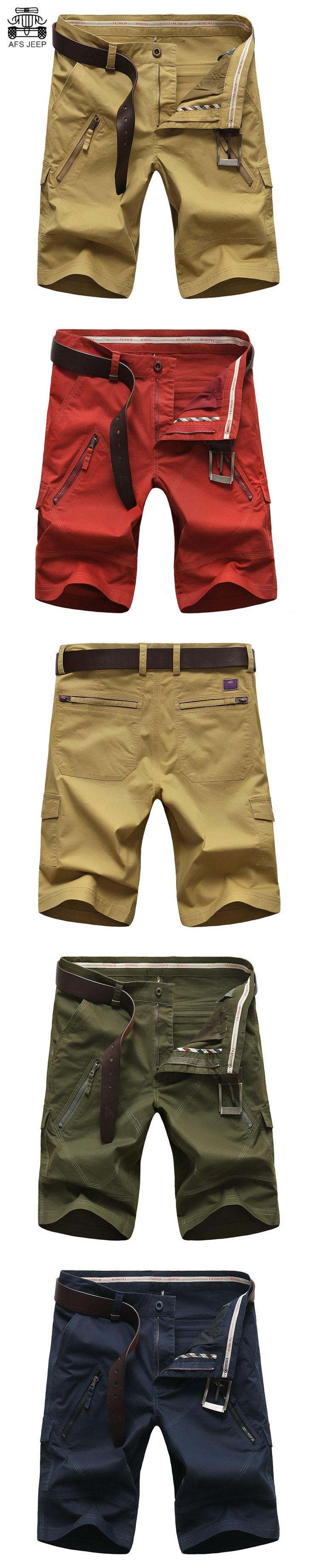 AFS JEEP 2017 Men's Shorts Denim Shorts Bermudas Masculina  Marca Straight Pockets Men's Breeches cargo Short Homme Plus Size
