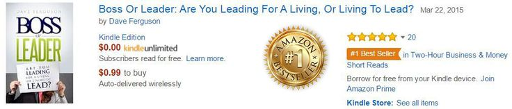 """Here is one of the numerous 5 Star Book Reviews on Amazon.com.""""I think many """"bosses"""" who happen to read Boss or Leader will wish they had this book earlier in their career. Dave Ferguson has done a great job defining the significant differences between how to boss and how to lead. I am sure that his years of experience working with executive leaders (and bosses) provided much of the insight for this book. If you think you are a leader, read this book and you will find some great wisdom on…"""