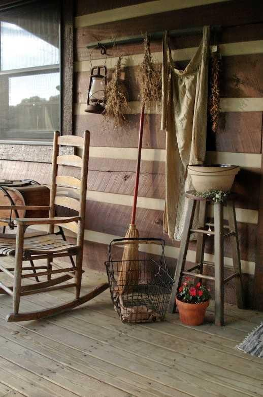 Love of porches primitive gatherings antiques for Rustic front porch