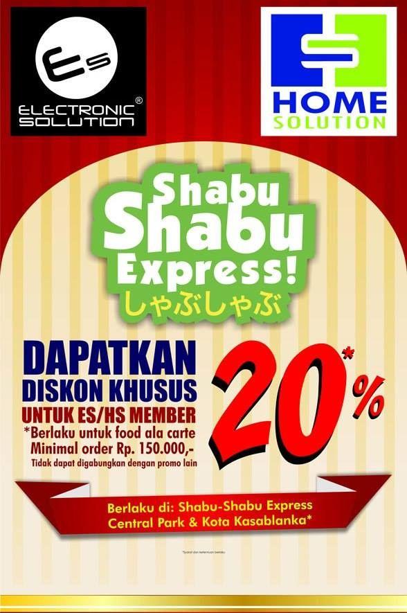 Shabu-Shabu Express: Promo Member ES & HS, Diskon 20% untuk Food Ala Carte @shabu2express