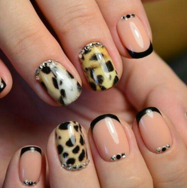 Black french manicure, Evening short nails, Fall french nails, Leopard gel polish, Leopard nail designs, Leopard shellac