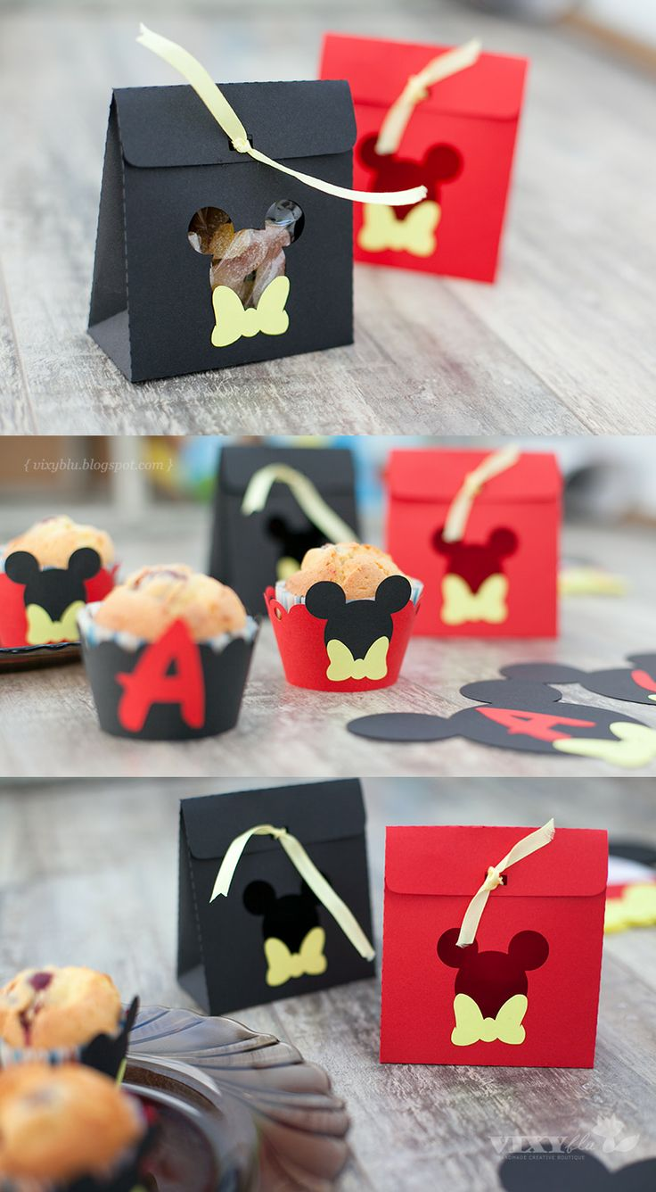 Mickey Mouse favor box and muffins wrap