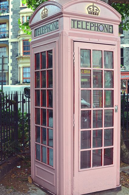 """Pink Telephone Booth"" ~~ It is by Columbia Road Flower Market, London, England, GB.~~    Picture by baby, picture this (Laura) July 24 2011 in London, England, GB."