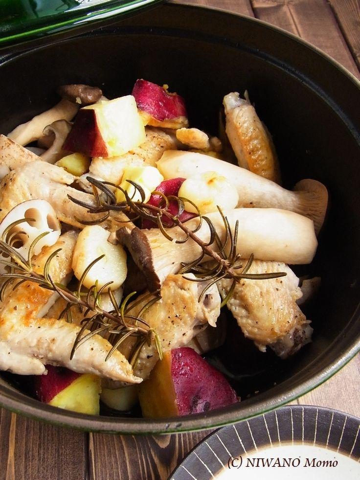 ストウブで蒸し焼きにした手羽先と秋野菜 燻製バター添え by 庭乃桃 / レシピサイト「ナディア / Nadia」/プロの料理を無料で検索
