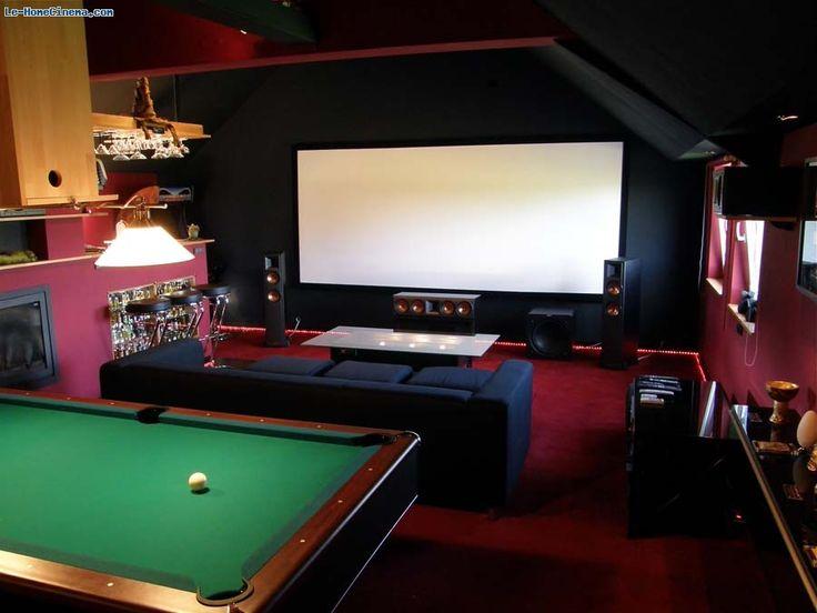 Exemple d 39 installations home cin ma house pinterest for Cinema a salon