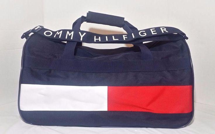 Vintage Tommy Hilfiger Duffle Bag 90s Colorblock Flag Gym Sport Large Tote Nice TommyHilfiger DuffleGymBag