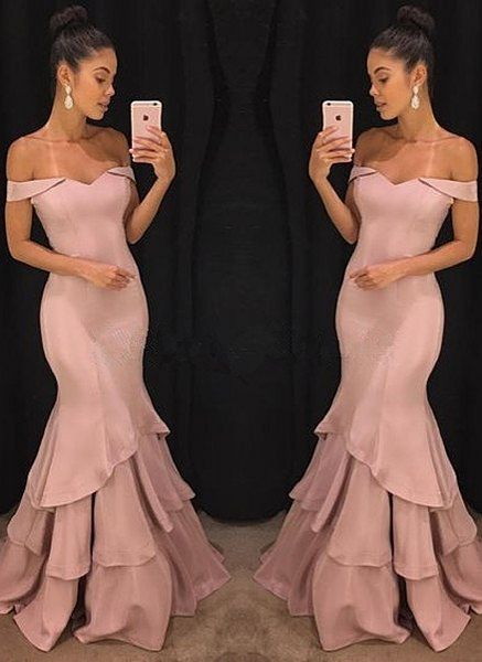 Elegant Pink Mermaid Prom Dresses | Off-the-Shoulder Long Evening Gowns_Wholesale Wedding Dresses, Lace Prom Dresses, Long Formal Dresses, Affordable Prom Dresses - High Quality Wedding Dresses - Yesbabyonline.com