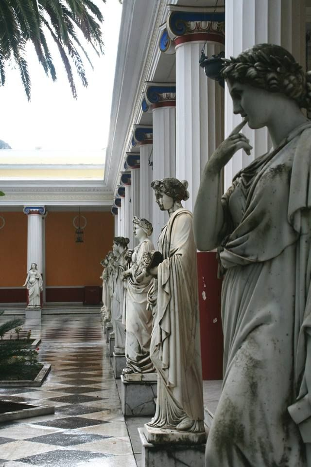 The Terrace of the Muses in the Achilleion Palace in Corfu, Greece.