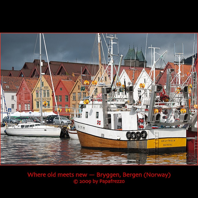 (date 2009) Fishing vessels moored in front of Bryggen, the historic wharf in Bergen (Norway).