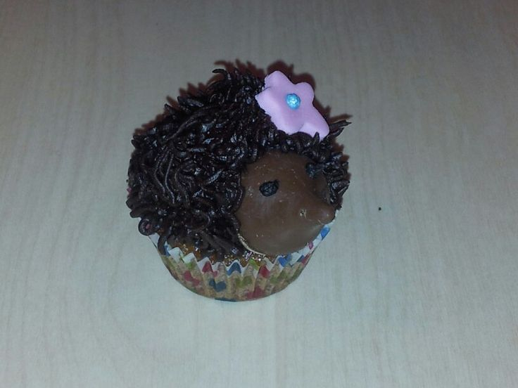 Baby hedgehog for SPCA cupcake day 2013. Honey cupcake, chocolate butter cream, chocolate decorations.