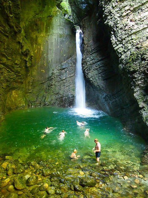 Have you ever gone swimming in a waterfall? How many times could you do it before you'd be bored? Slovenia
