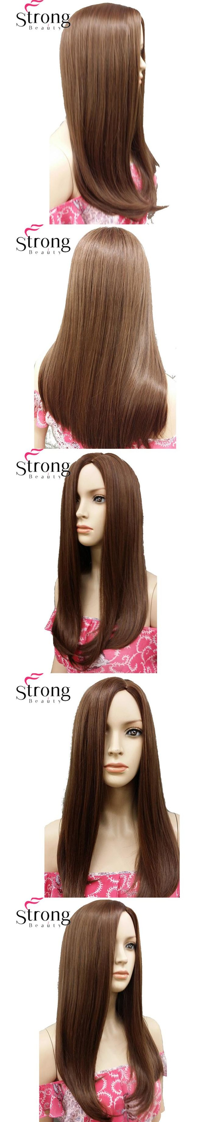 StrongBeauty Light Brown Long Straight Side Part, no Bangs Full Synthetic Wig