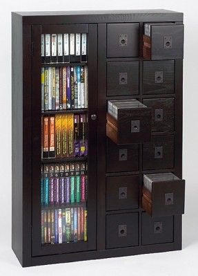 Solid Oak Glass Door CD DVD Storage Cabinet Espresso | eBay
