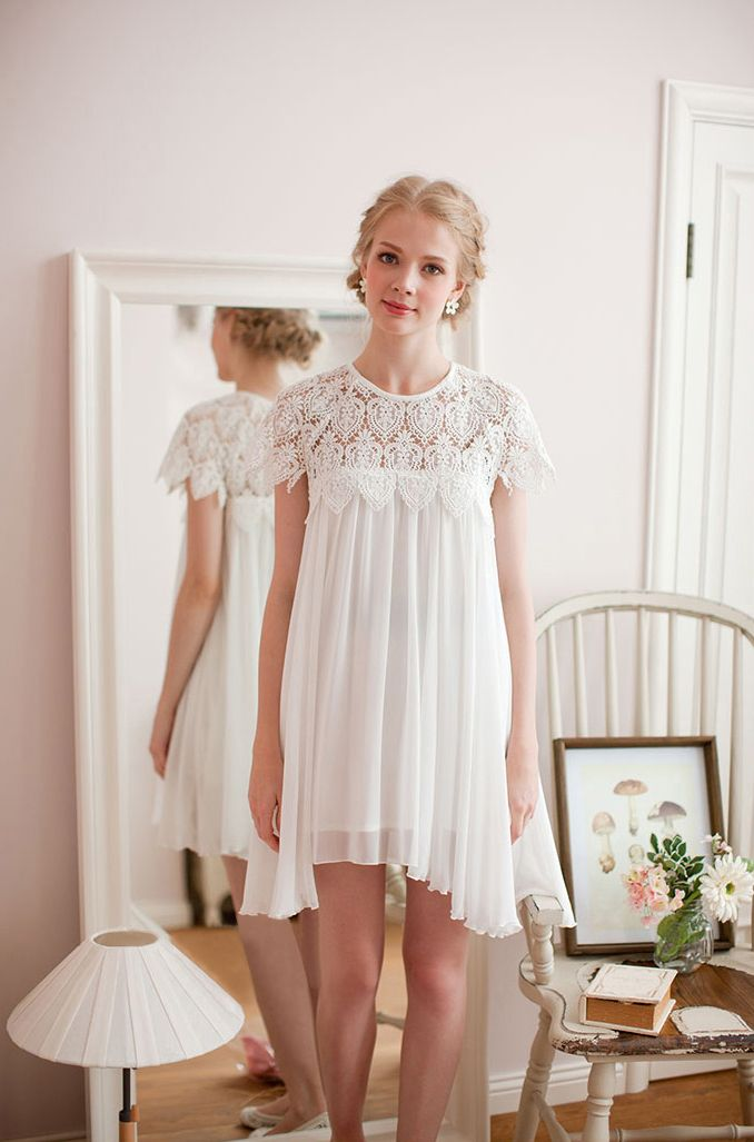 Beautiful in White / Swing Dress with Lace Top #wedding #rehearsal #reception #dress #dinner #date #dance #drinks #white