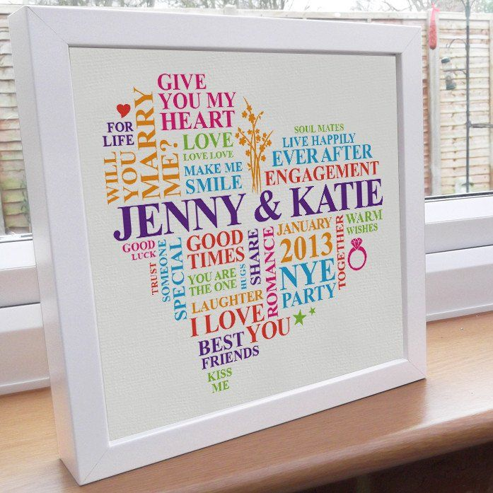 Gay Engagement art frame. They're engaged! This could be the favourite engagement gift the lovely ladies receive - personalised with the special proposal date, location and their names. Capture the memory for years to come in this personalized engagement gift.    This unique engagement present can be hung on the wall or stand freely in a counter.