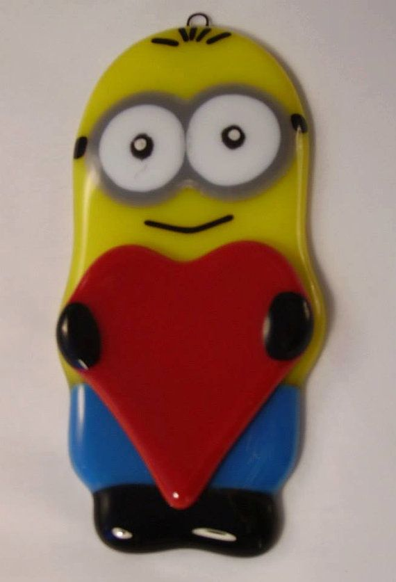 Romeo  Fused Glass Minion Hanging Ornament by theartmachine1, £20.00
