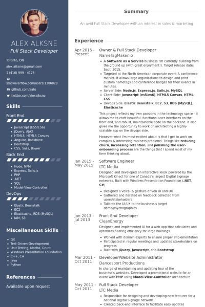 owner  u0026 full stack developer resume example