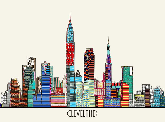 Cleveland city Art Print | colorful view of the Cleveland skyline in three sizes, artsy, abstract elements