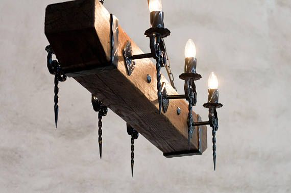 Wood Beam And Wrought Iron Chandelier For 6 Lights Con Imagenes