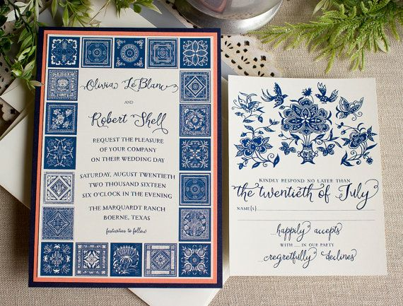 Chinese Indigo Wedding Invitation Navy Blue by SunshineandRavioli