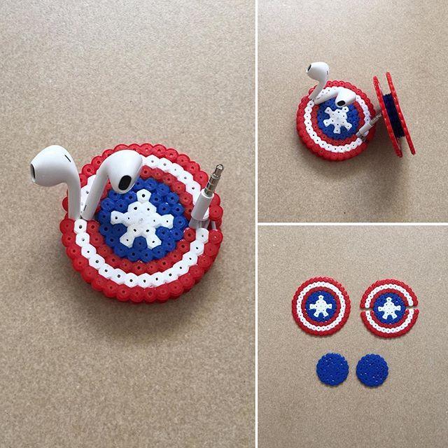 Captain America shield earbud holder perler beads by ikasuyanto