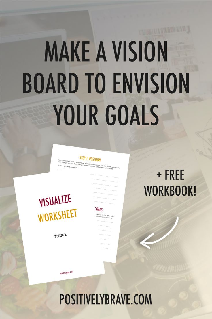 How to make a vision board to envision your goals. Visualizing is amazing way to keep yourself motivated for your goals. I do it all the time and it's also great to figure out what it is that you want in life. The visualize workbook helps you go through the process of visualizing