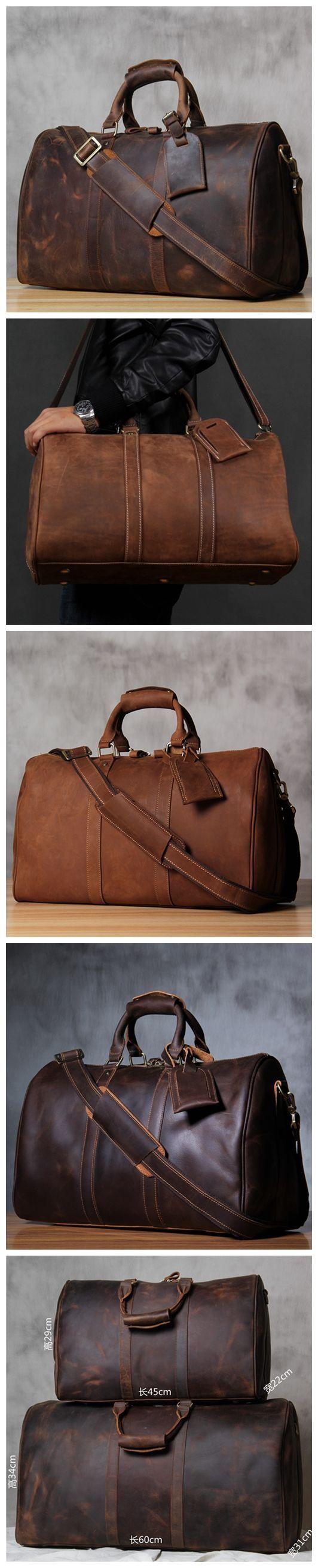 Handmade Extra Large Vintage Full Grain Leather Travel Bag, Duffle Bag, Holdall…