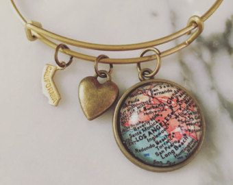 Los Angeles Map Charm Bangle Bracelet - Jewelry - Stacked Bangle - West Coast - LA - Anaheim - Long Beach - Pasadena - California