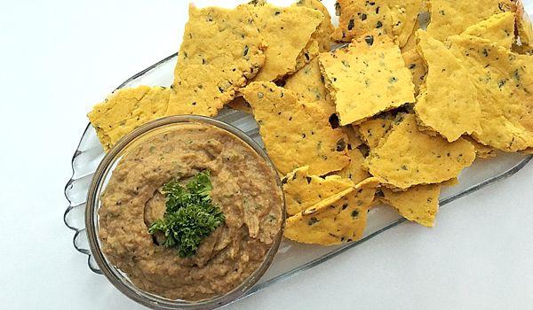 Gluten Free Chickpea Crackers with Eggplant Dip  A healthy high in protein snack  #healthyrecipe #glutenfree #vegan #nutreats