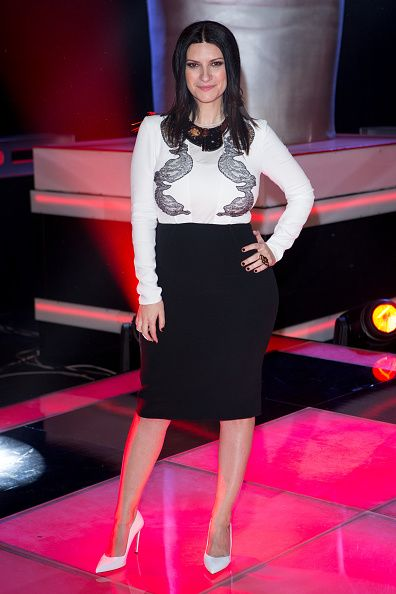 Singer Laura Pausini poses during a photocall to present the new season of 'La Voz' at 'Picasso' studios on January 9 2015 in Madrid Spain
