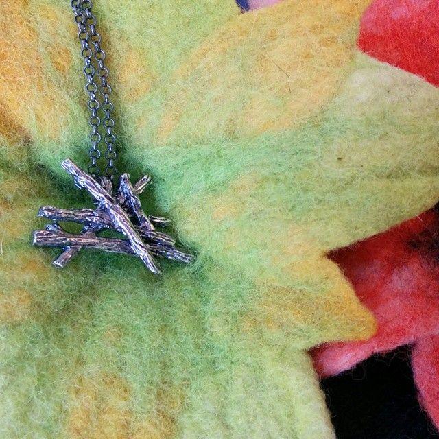 Oxidized Silver Slashpile necklace! #oxidizedsilver #slashpile #logs #campfire #spring #slashpiledesigns