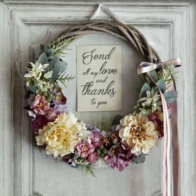 ka527su様専用… 'rustic wedding' wreath bouquet:アンティーククリームのリースブーケ | ハンドメイドマーケット minne
