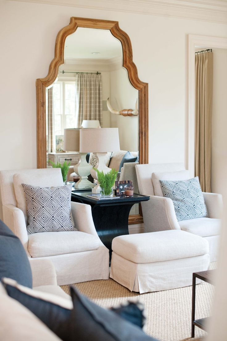 Living room chair custom chair and a half living room oversized chairs - Dana Wolter Interiors Graham Yelton Photography Like The Shared Ottoman Between The Two Chairs Living Room
