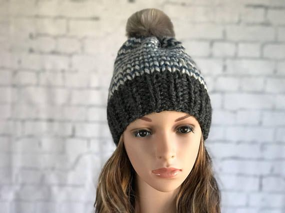 Knit Hat with Pom Pom / Striped Knit Hat / Women's Winter Hat / Warm Cozy Knitted Hat / Women's Toque / Women's Beanie / Faux Fur Pom Pom