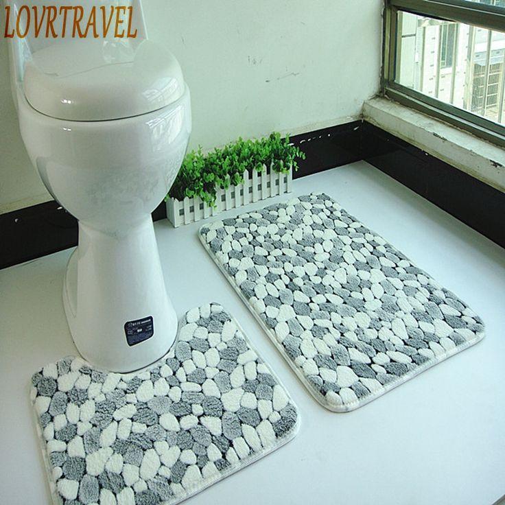 Set Thickening C Fleece Floor Mats, Bathroom Floor Rugs