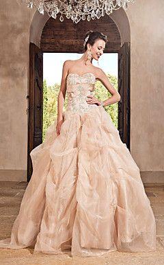 Ball Gown Sweetheart Floor-length Organza Satin Evening Dress