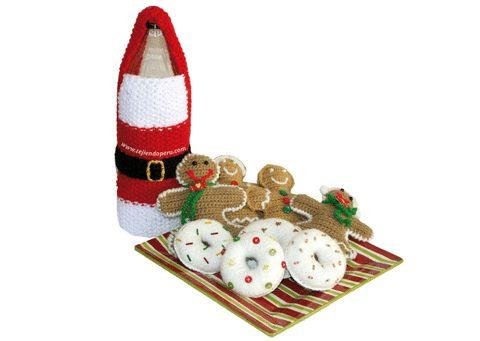 Cómo tejer un traje de Papa Noel cobertor de botellas en dos agujas o palitos