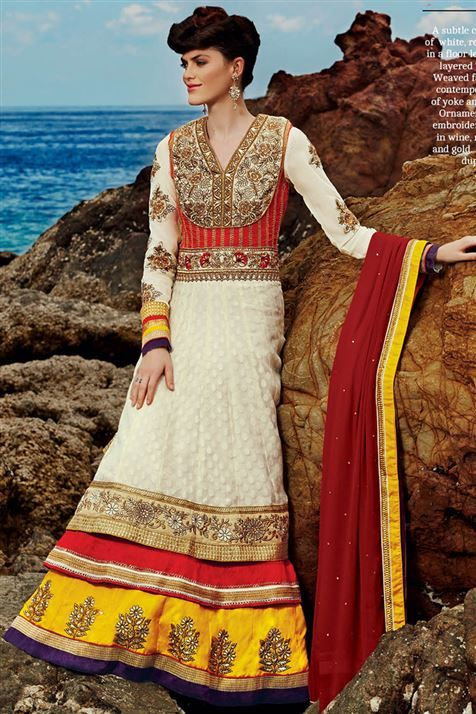 Mesmerizing Cream, Red, Yellow Georgette Party wear Long Floor Touch Suit