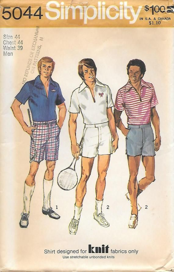 02701ef7df89e Simplicity 5044 UNCUT 1970s Mens Tennis Gold Shorts and Pullover Shirt  Vintage Sewing Pattern Chest 44 Waist 39 Knit Shirt in 2019 | Products | Mens  sewing ...