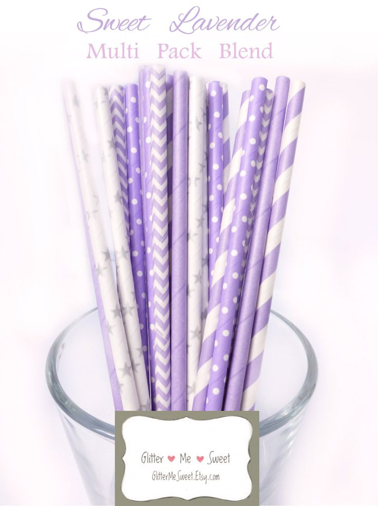 Lavender Straws   Lavender Baby Shower Decoration   Lavender Bridal Showeru2026