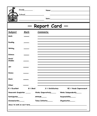 Blank Report Cards Printable - Printable Cards