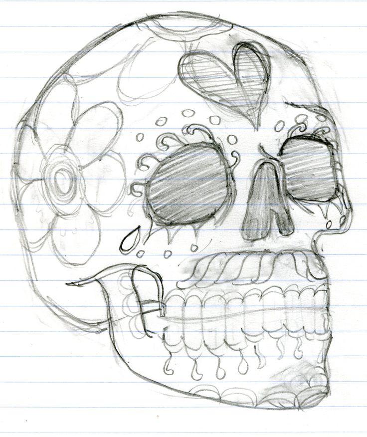 day of the dead skull. sketch, skeleton Skulls drawing