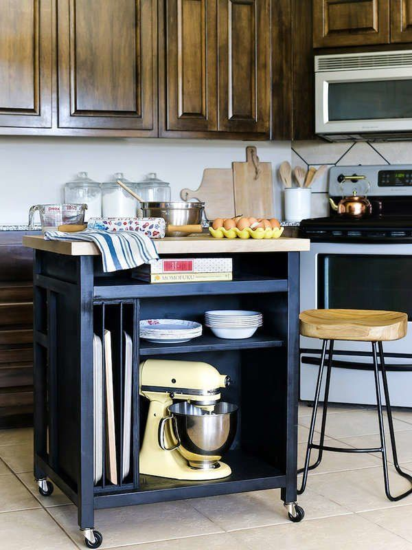 15 Small Kitchen Island Ideas That Inspire Rolling Kitchen Island Moveable Kitchen Island Kitchen Remodel Small